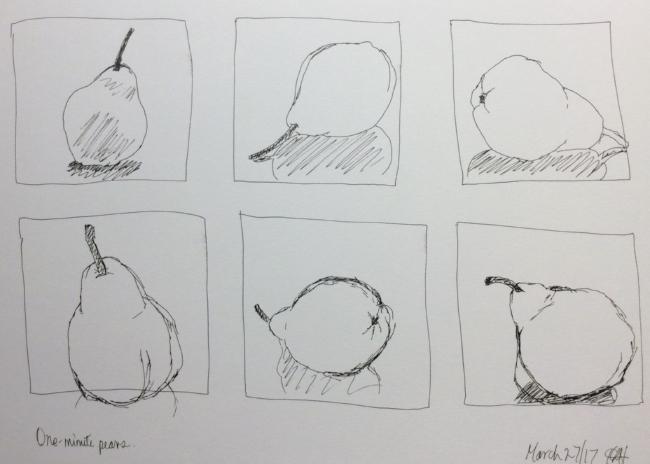 One-minute pears, art journal, ink