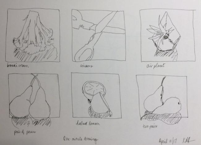 One-minute drawings, art journal