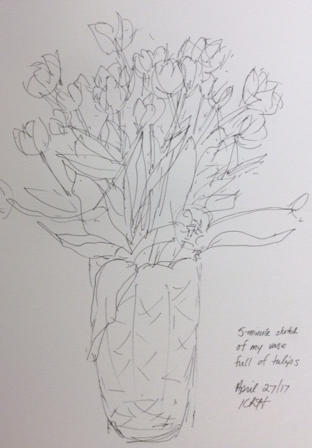Five-minute sketch of my case of tulips. art journal, ink