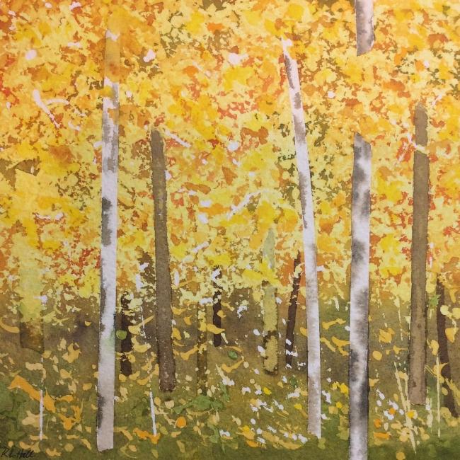 """Birches"" Watercolour, 8 x 8"""