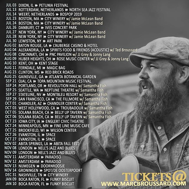 Hey ya'll, here is an updated list of tour dates!  Tag (@) 4 people in this post and you'll have a chance win a meet and greet for you and your crew at a show of your choice!  The winner will be contacted via Instagram on 6/18!  Tickets at www.marcbroussard.com (link in bio)