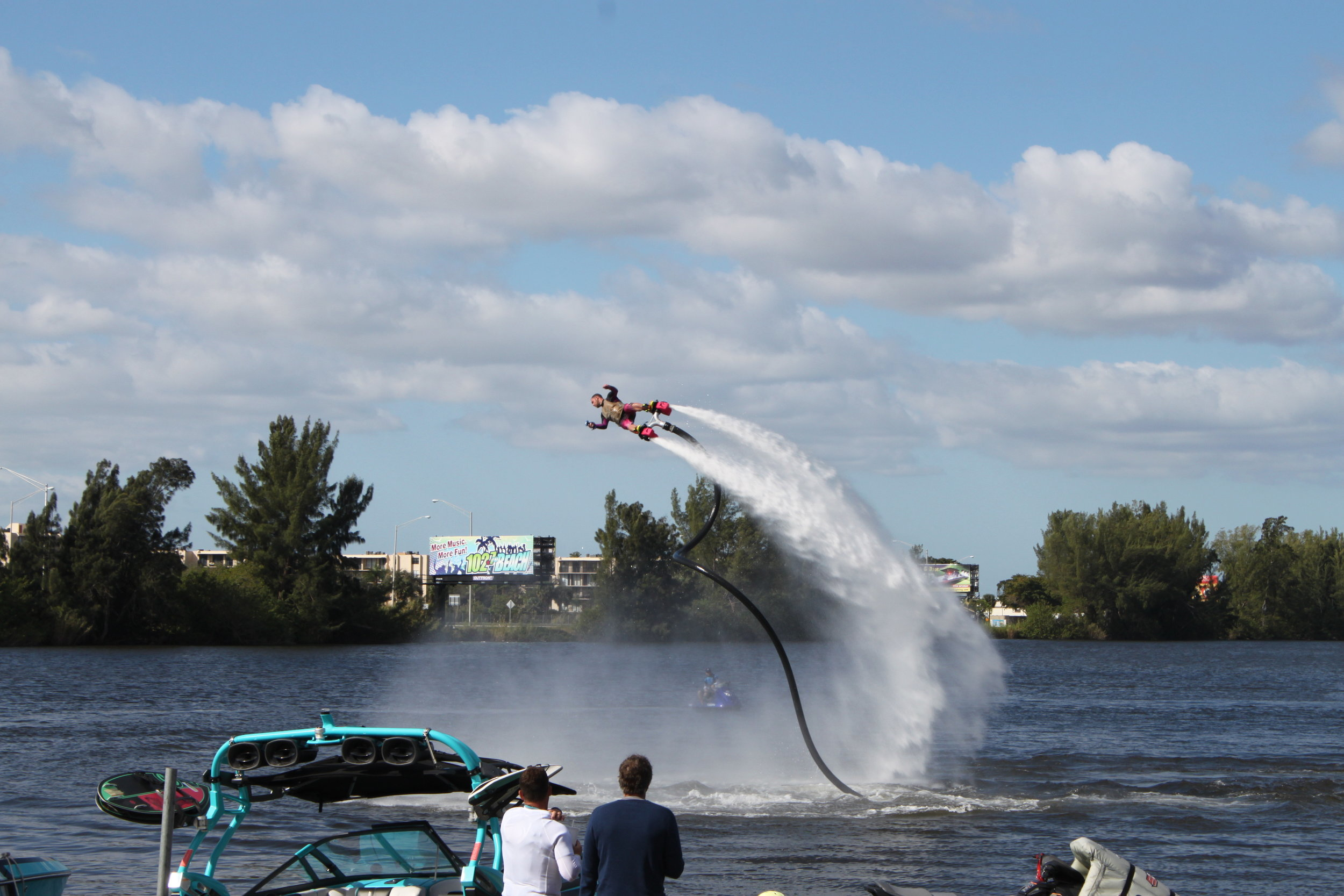 "A photo from the first ""open"" competition featuring all boards and jetpacks, in Pompano Beach, Florida"