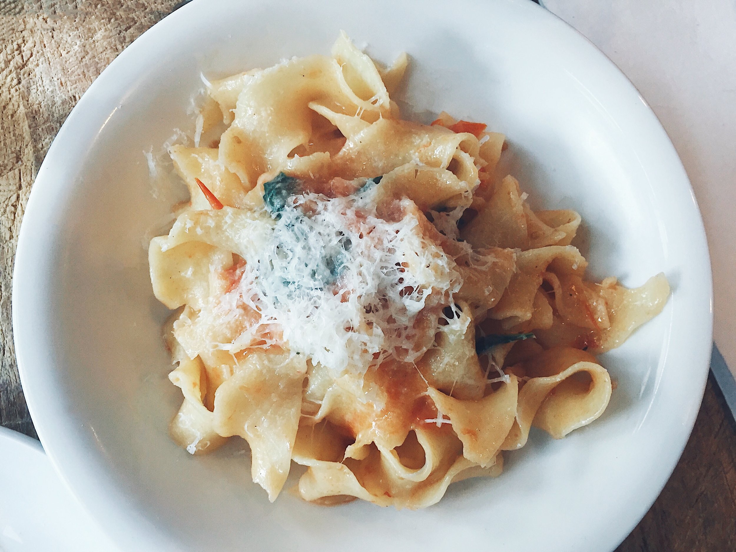 Annabelle | Pappardelle in confit tomato with basil.