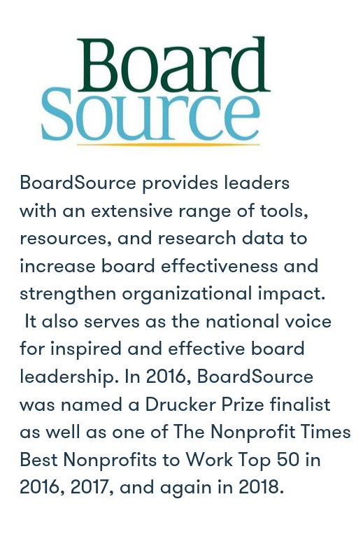 Source:  BoardSource,  About BoardSource , September 2019