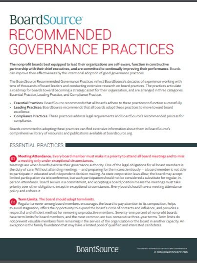 Source:  BoardSource,  Recommended Governance Practices , 2016