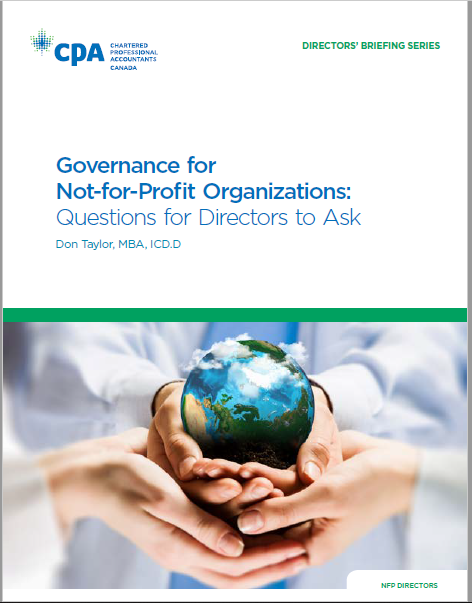 Chartered Professional Accountants of Canada,  Governance for Not-for-Profit Organizations: Questions for Directors to Ask , Don Taylor, May 9th 2014