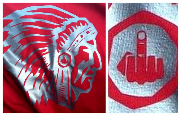 Soon after a Native mascot image ban at two West Hartford Connecticut high schools in 2015, a Conard Chieftain high school parent alumni created a t-shirt with an image of a Native American man in a headdress with an emblem of a 'f*ck you' middle finger hidden in the medallion.........         Read more at :     http://indiancountrytodaymedianetwork.com/2016/01/30/after-mascot-ban-ct-high-school-parent-designs-fck-you-finger-headdress-t-shirt-163250