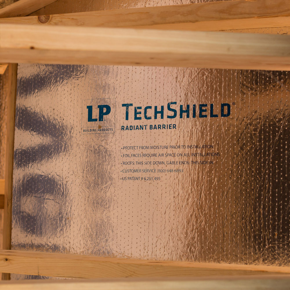 Tech Shield - We install this top-of-the-line radiant barrier into the roof spaces of your home to reflect heat away from your house. This high quality product helps keep your home cooler in the summer and lowers your energy bills.