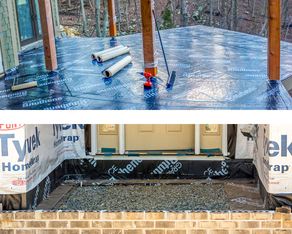 WATERPROOFING MEMBRANE - This feature protects your home from moisture. Areas waterproofed include your house's foundation, deck and patio. We use high-quality membranes such as Bituthene® which adheres to your home's structure and provides a durable barrier from moisture. Proper installation of these membranes is critical to the integrity of your house.