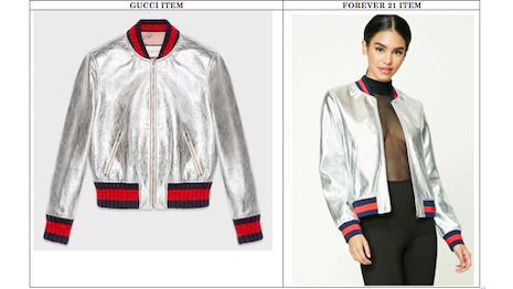 Gucci (left) claims Forever 21's designs (right) are similar to its own, leading to a trademark dispute in the California judicial system.