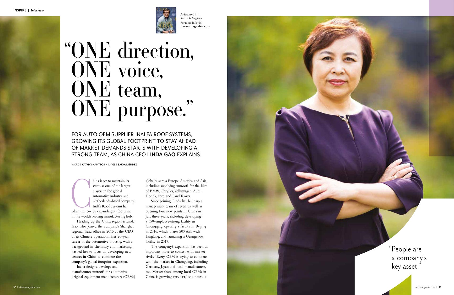Ms. Linda Gao CEO of INALFA ROOF SYSTEMS.