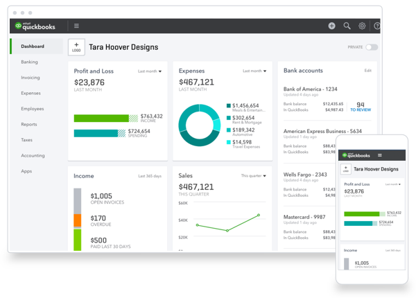 QuickBooks Dashboard Redesign