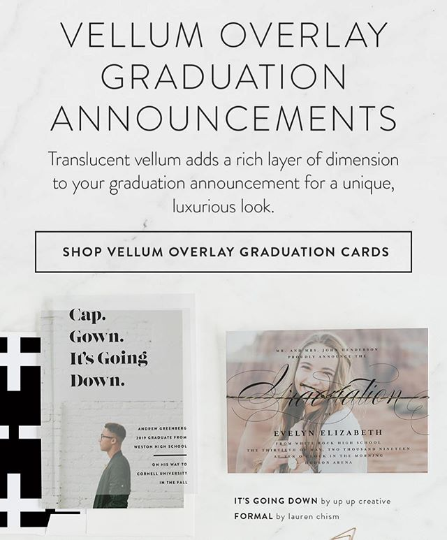 Minted's latest email featured another design that I have in the new vellum collection. I also love @julieatupupcreative 's fun design next to mine! 🎓 #minted #laurenchismforminted