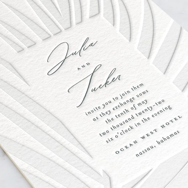 I have a few new letterpress wedding invitations that just launched at @minted . I have a soft spot for destination weddings and blind (no ink color) letterpress so I'm really excited about this one. Named 'Faded Palm'. 🌴