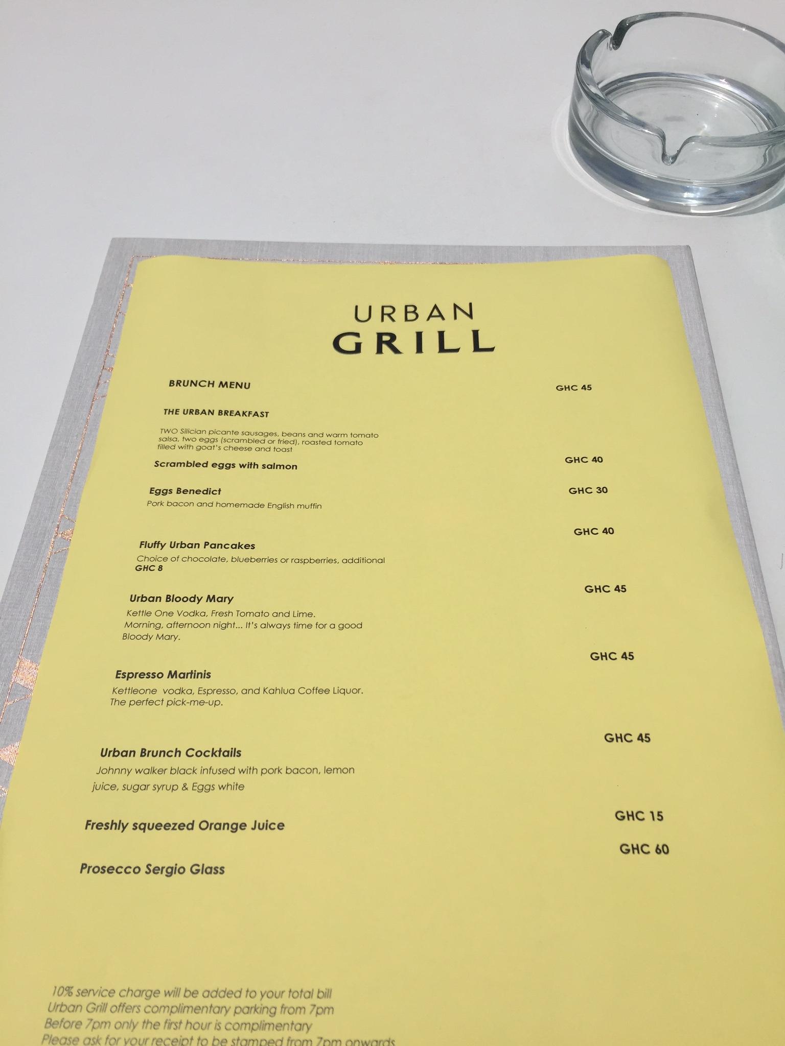 Urban Grill Menu