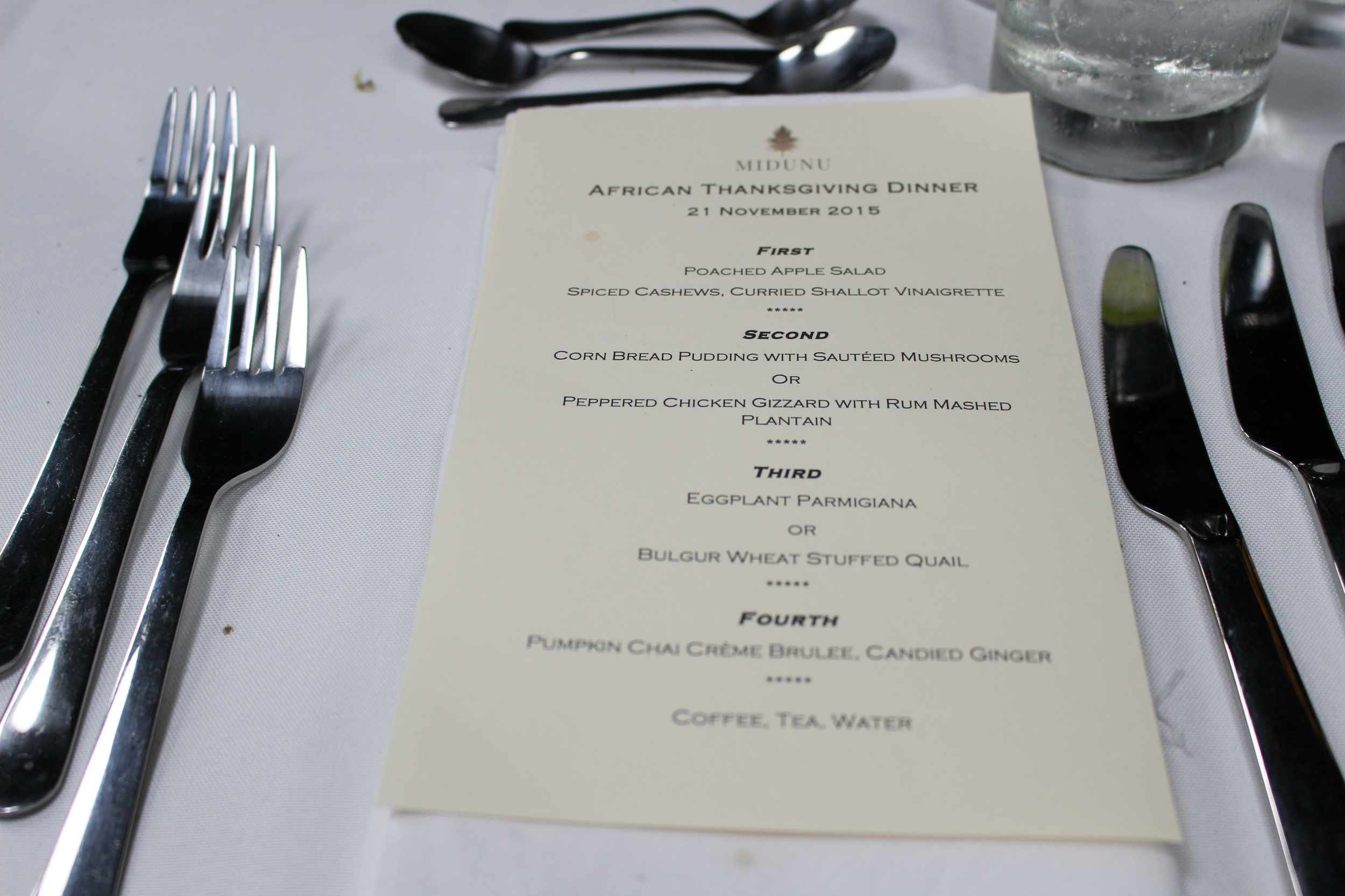 Midunu thanksgiving dinner menu