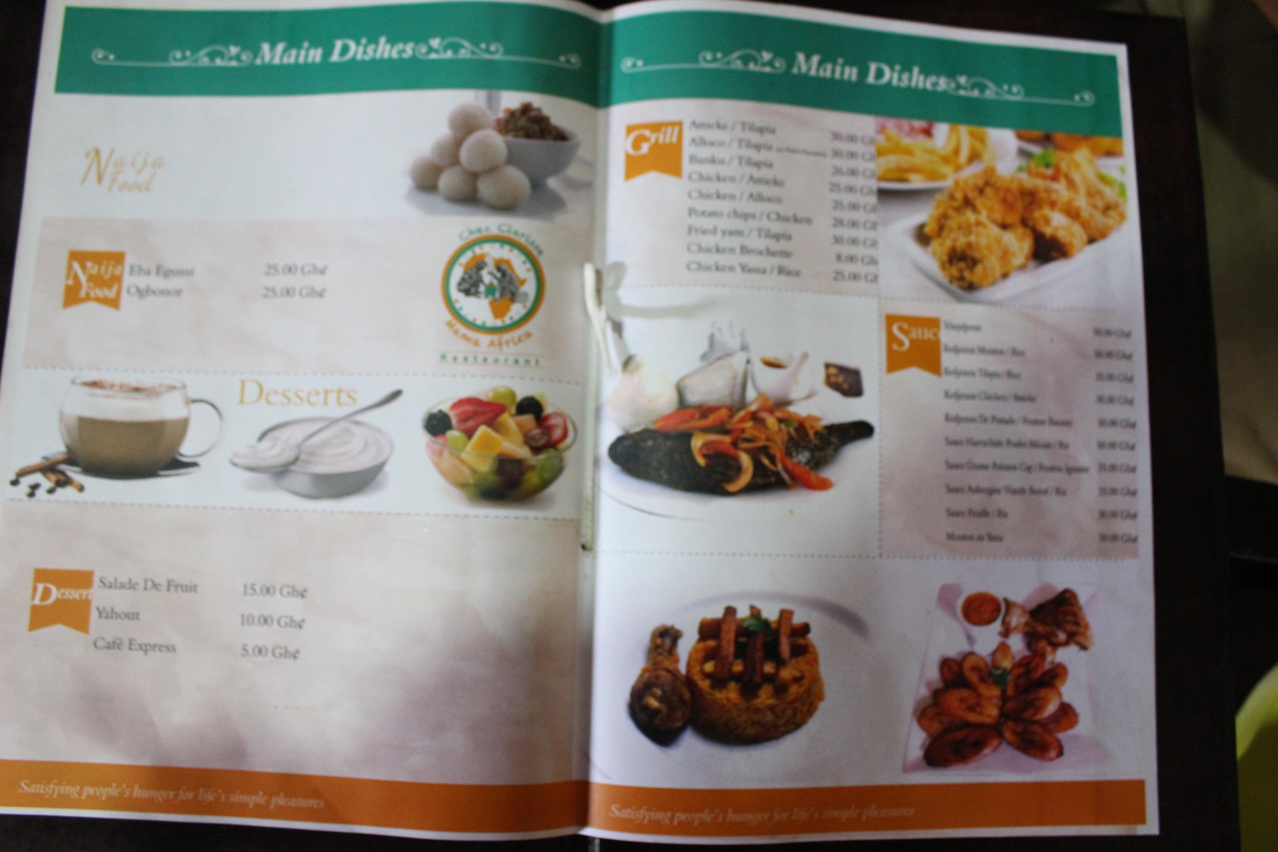 The menu, Chez Clarisse