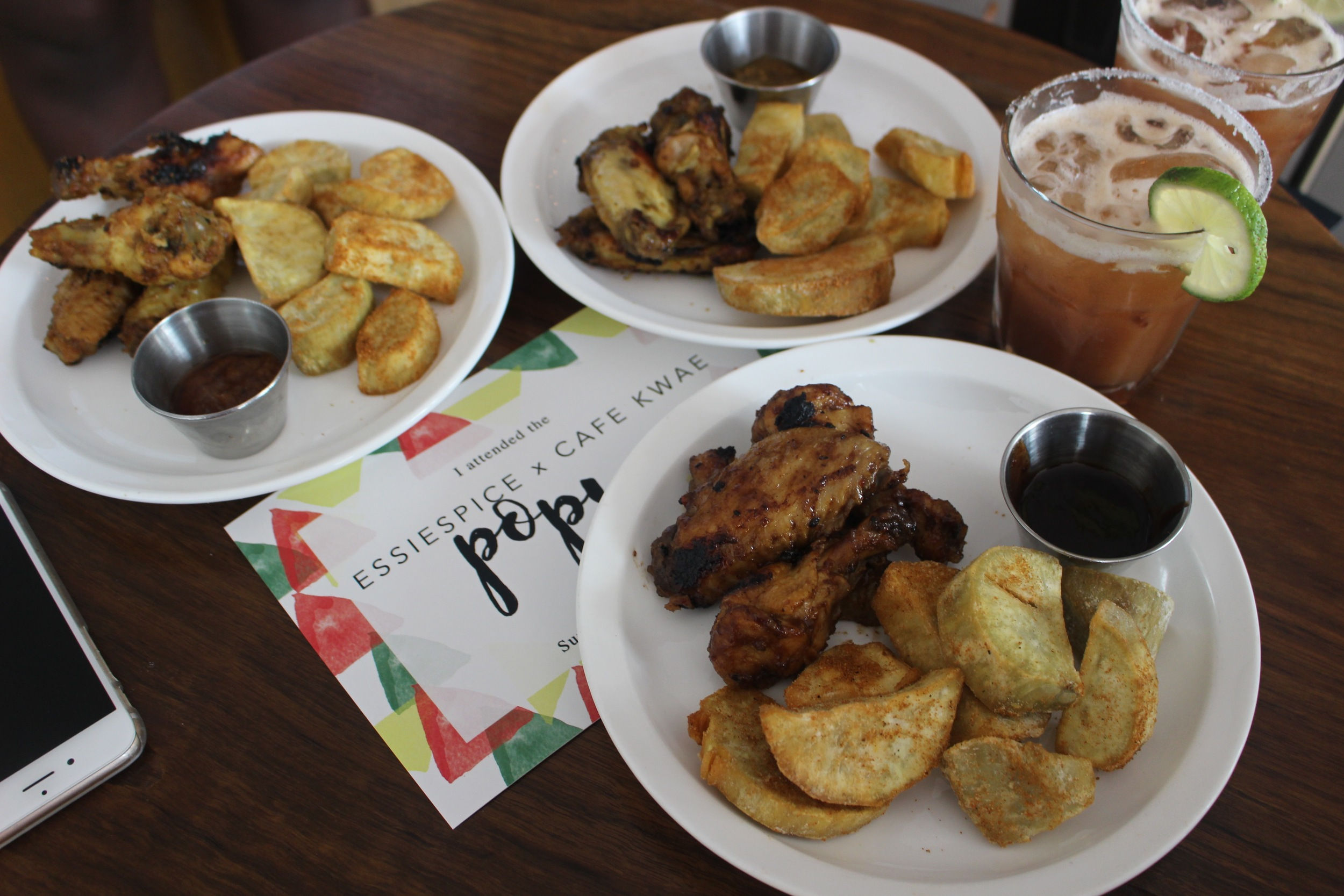 Meko Dry rub sweet potatoes served with three EssieSpice seasoned wings