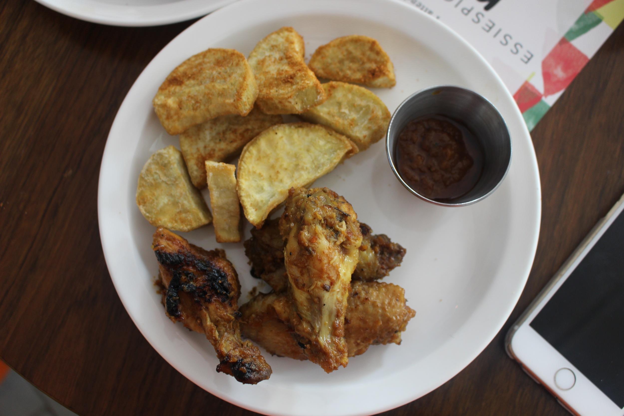 Coco for garlic, served with meko dry rub sweet potatoes