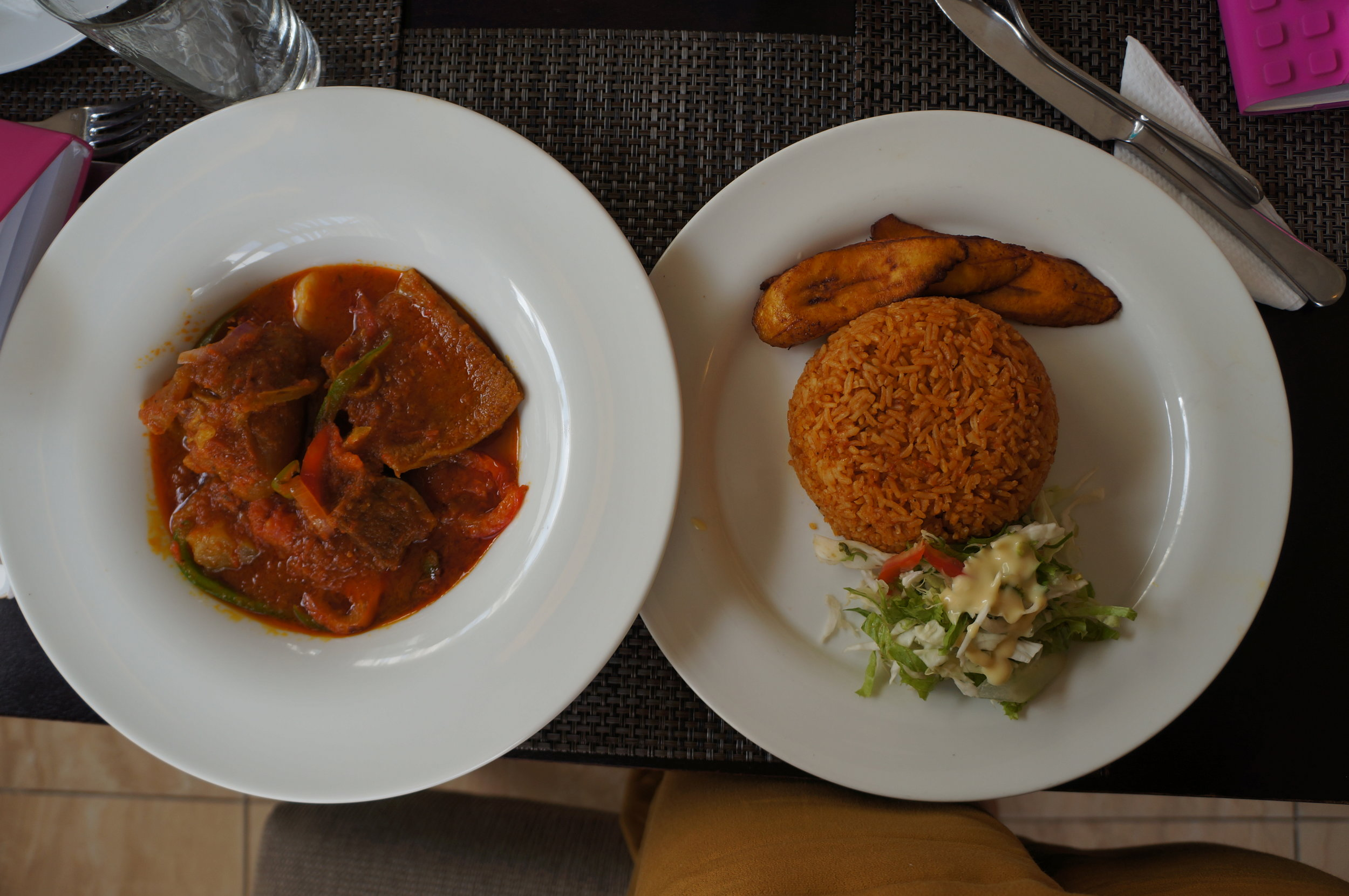 Jollof and assorted meat stew, 805