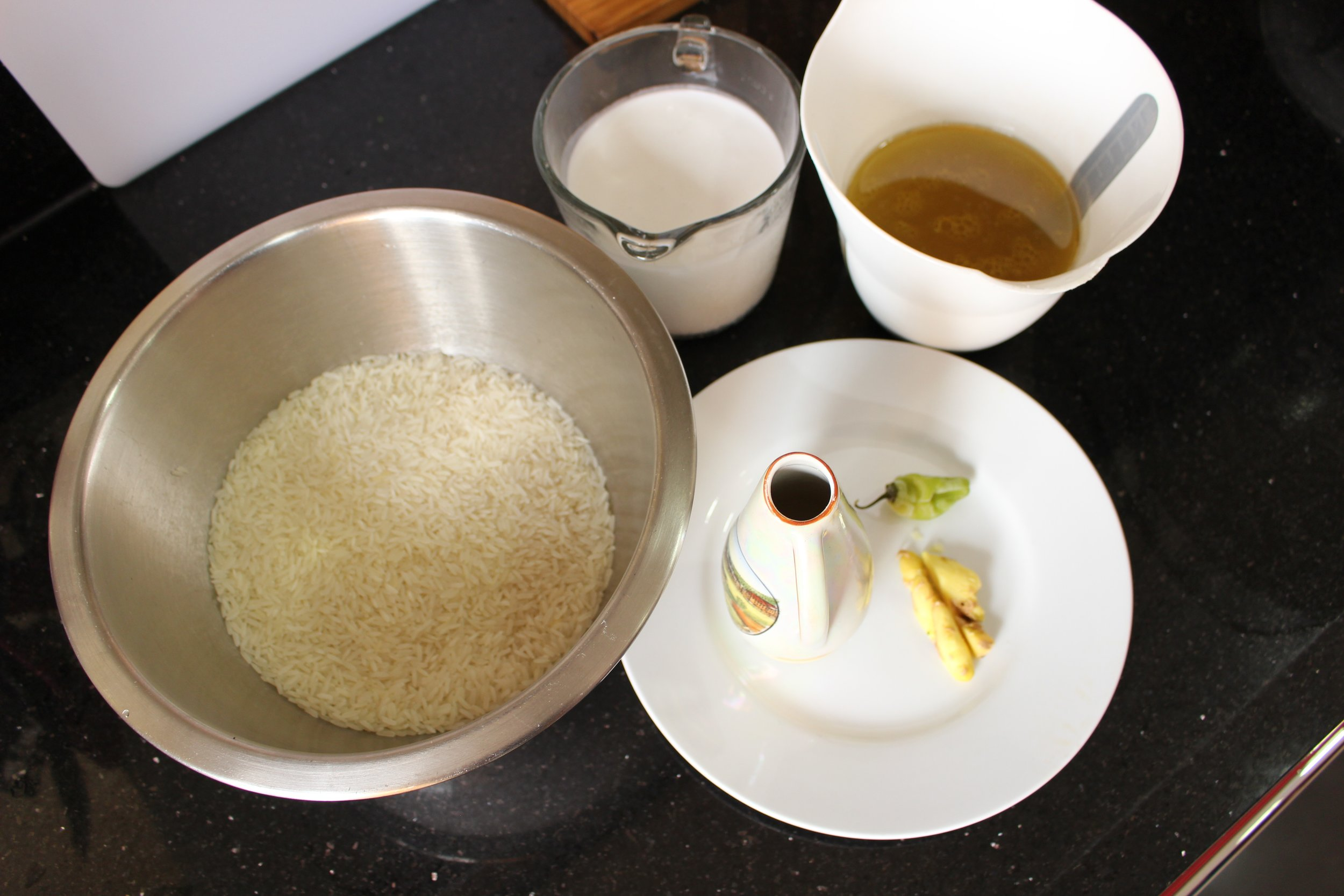 Rice, ginger, pepper, coconut milk, olive oil and chicken stock