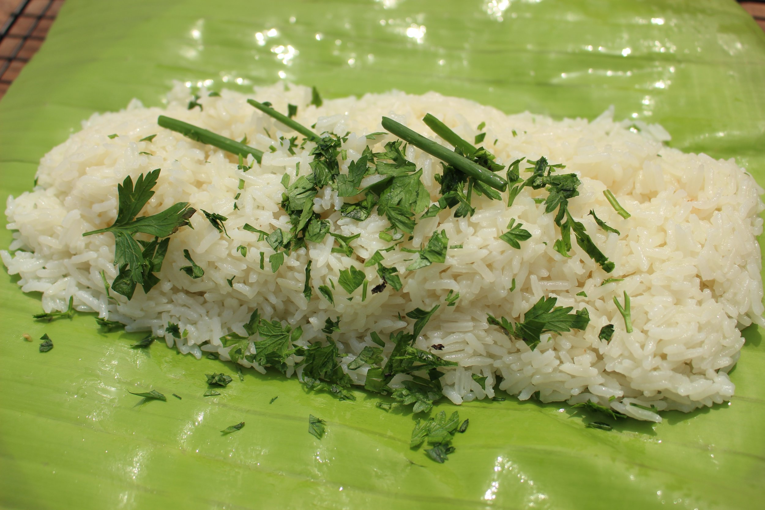 coconut rice with parsley garnish