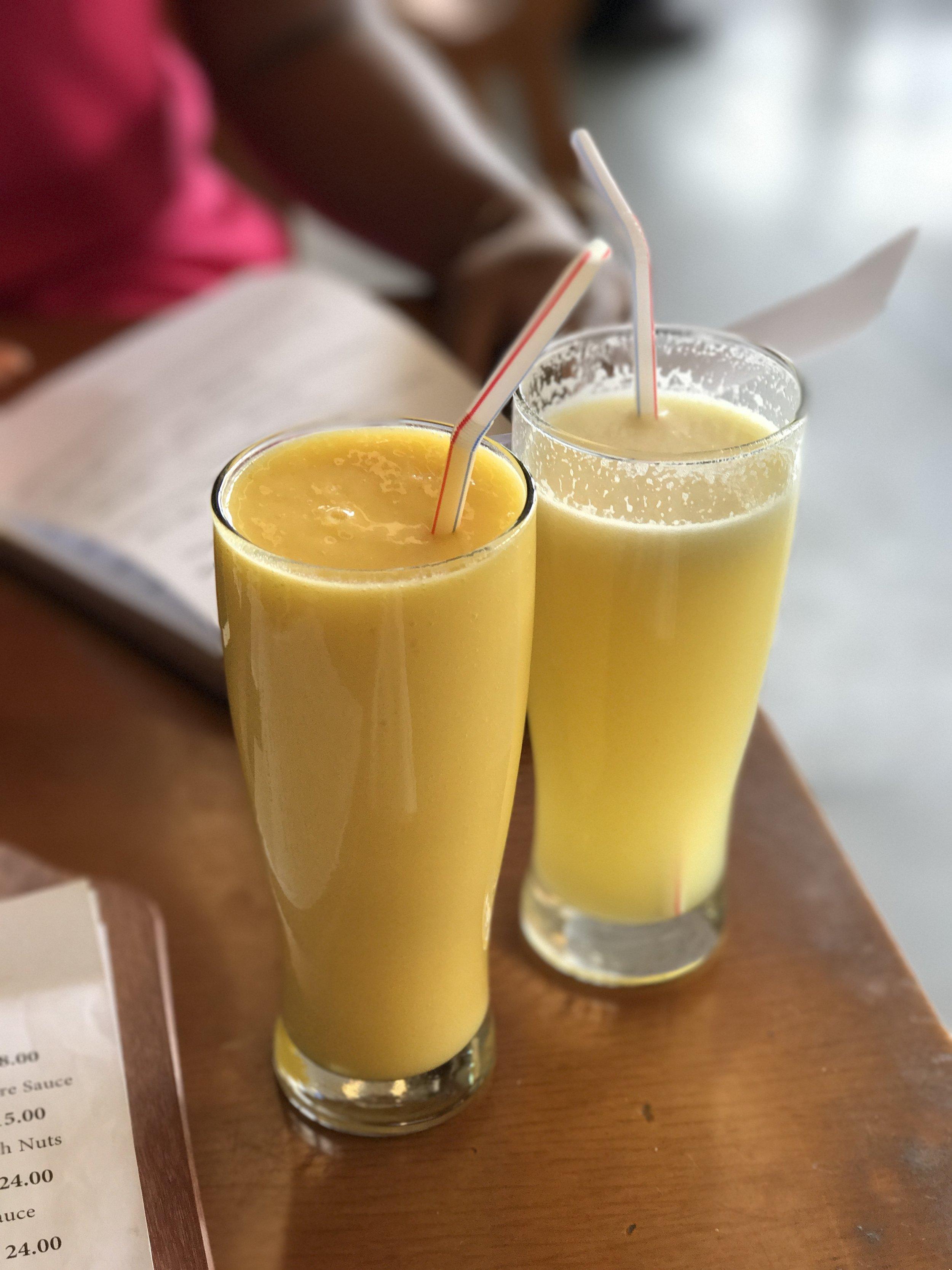 Mango and Pineapple juice and Pineapple and Orange juice