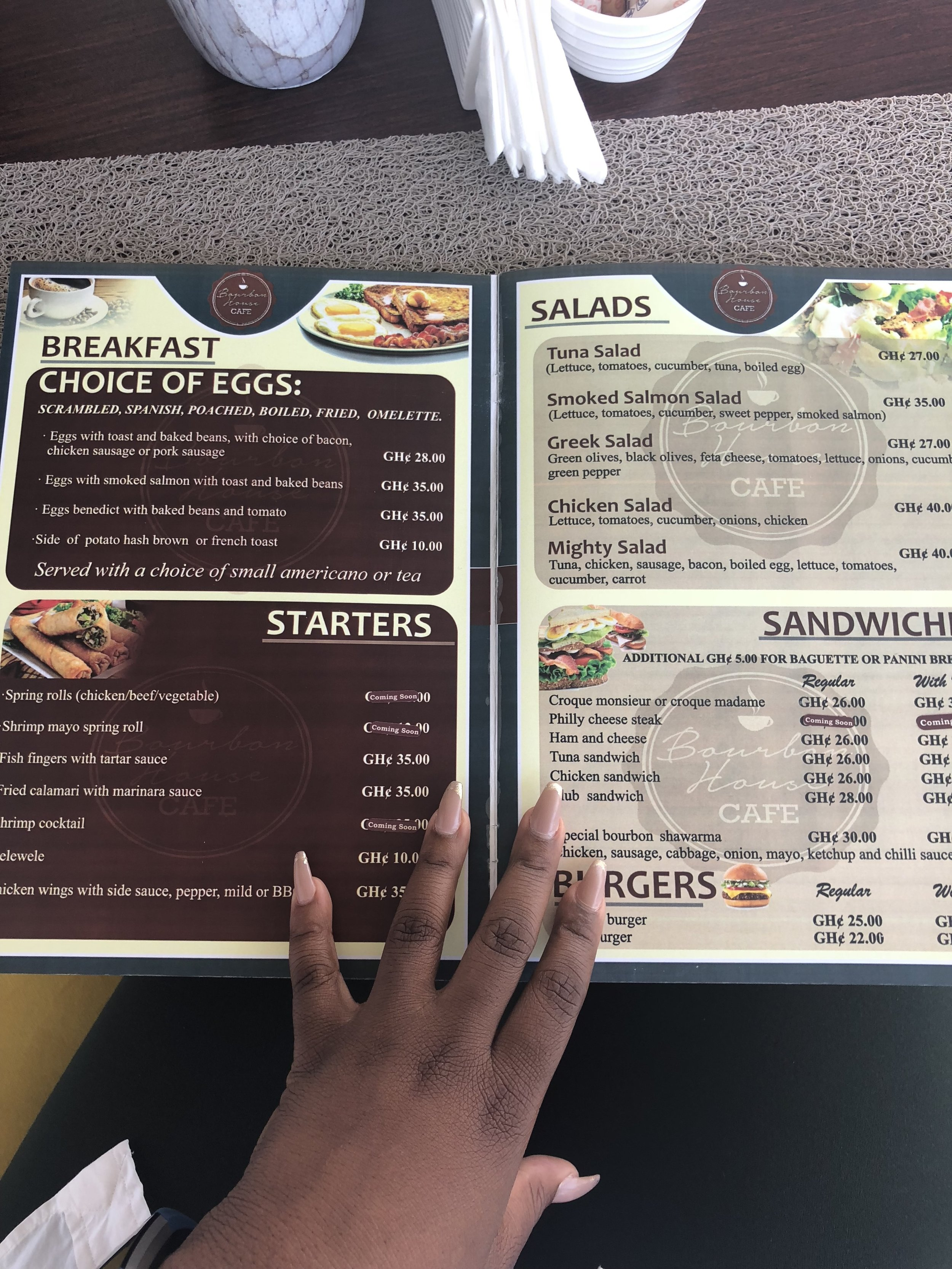 The other menu page, Bourbon House Café