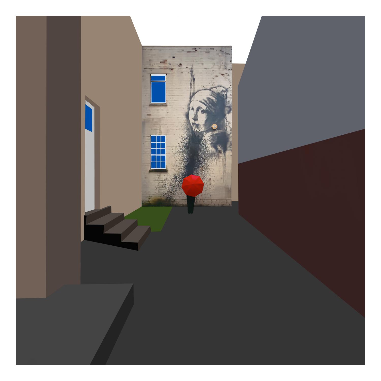 Banksy Red Umbrella 6 Colour.