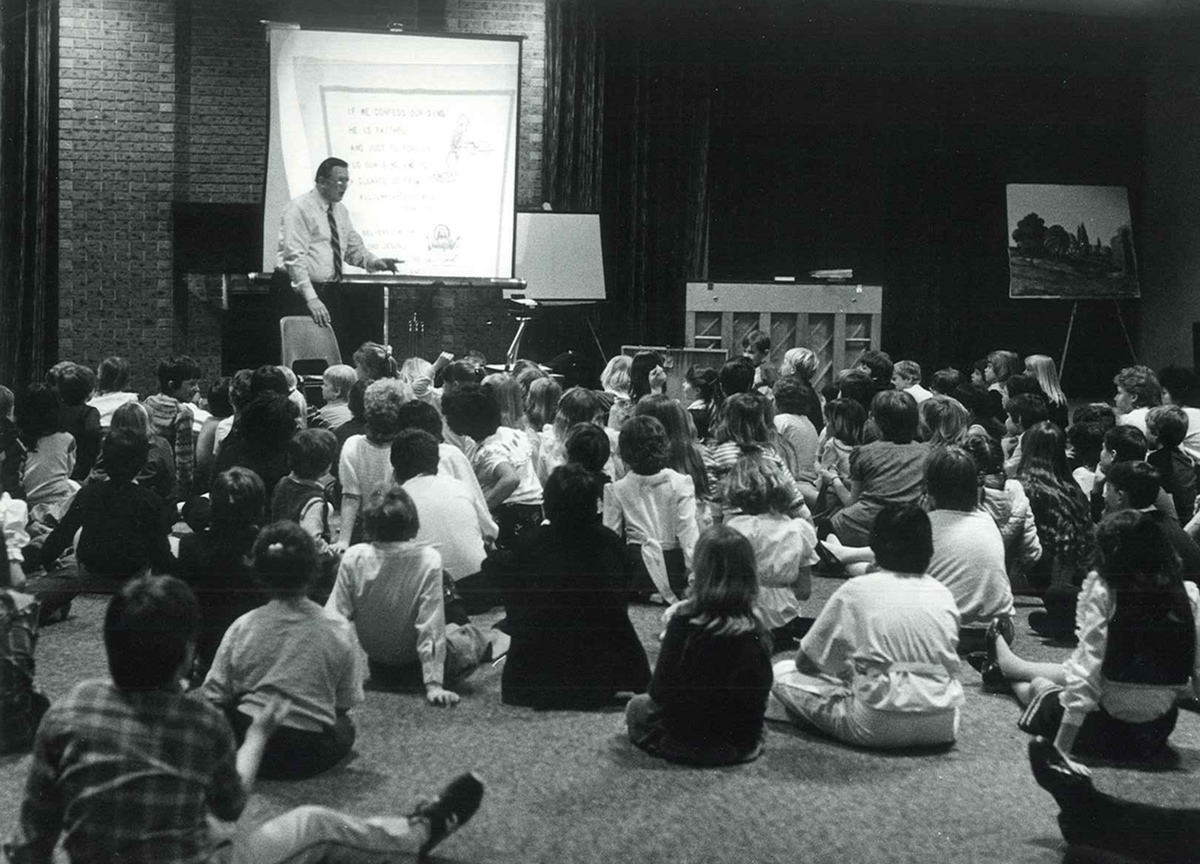 Children's meeting with Bill Orr at a Saskatoon conference. (February 1985)