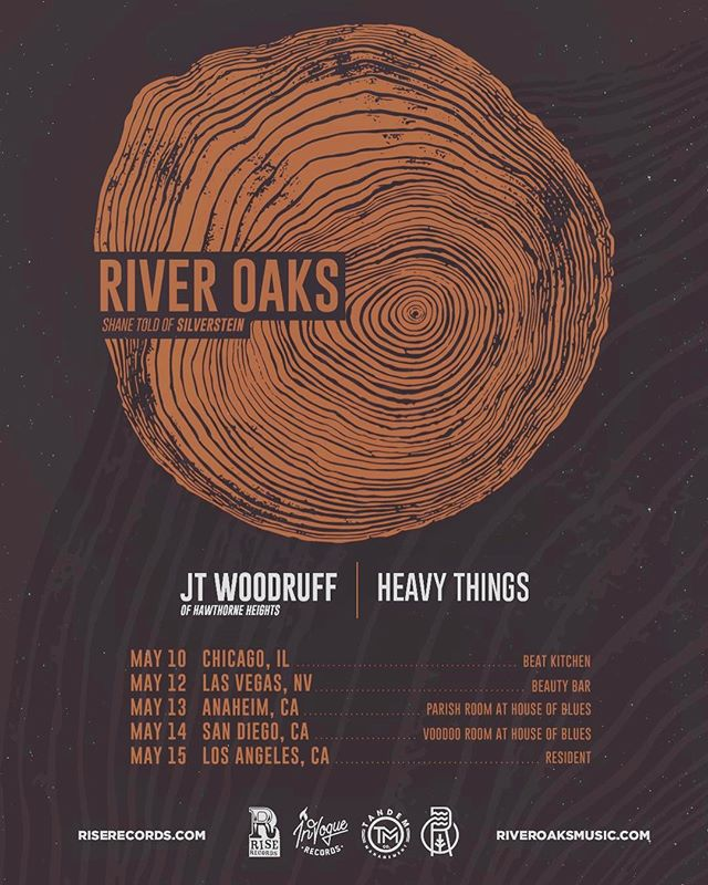 Shows are coming up!  Only $13!  Get tickets now riveroaksmusic.com !  Chicago / Las Vegas / Anaheim / San Diego / Los Angeles // JT from @hawthornehgts is opening! #riveroaksmusic #shanetold #hawthorneheights #heavythings