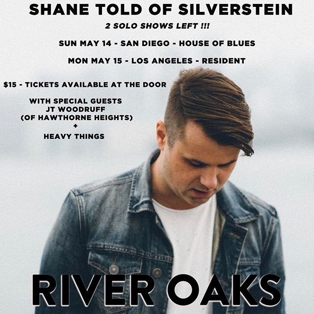 Tonight- SD.  Tomorrow - LA.  Come?  Come. #riveroaksmusic #jtwoodruff #hawthorneheights #heavythings #shanetold #silverstein