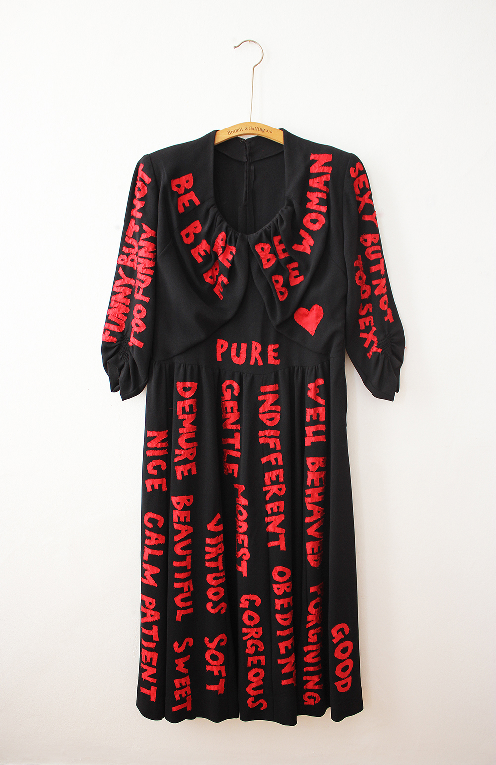 Be Woman, 2016  Manifesto. All the virtues of a lady. Red silk hand sown on vintage dress.