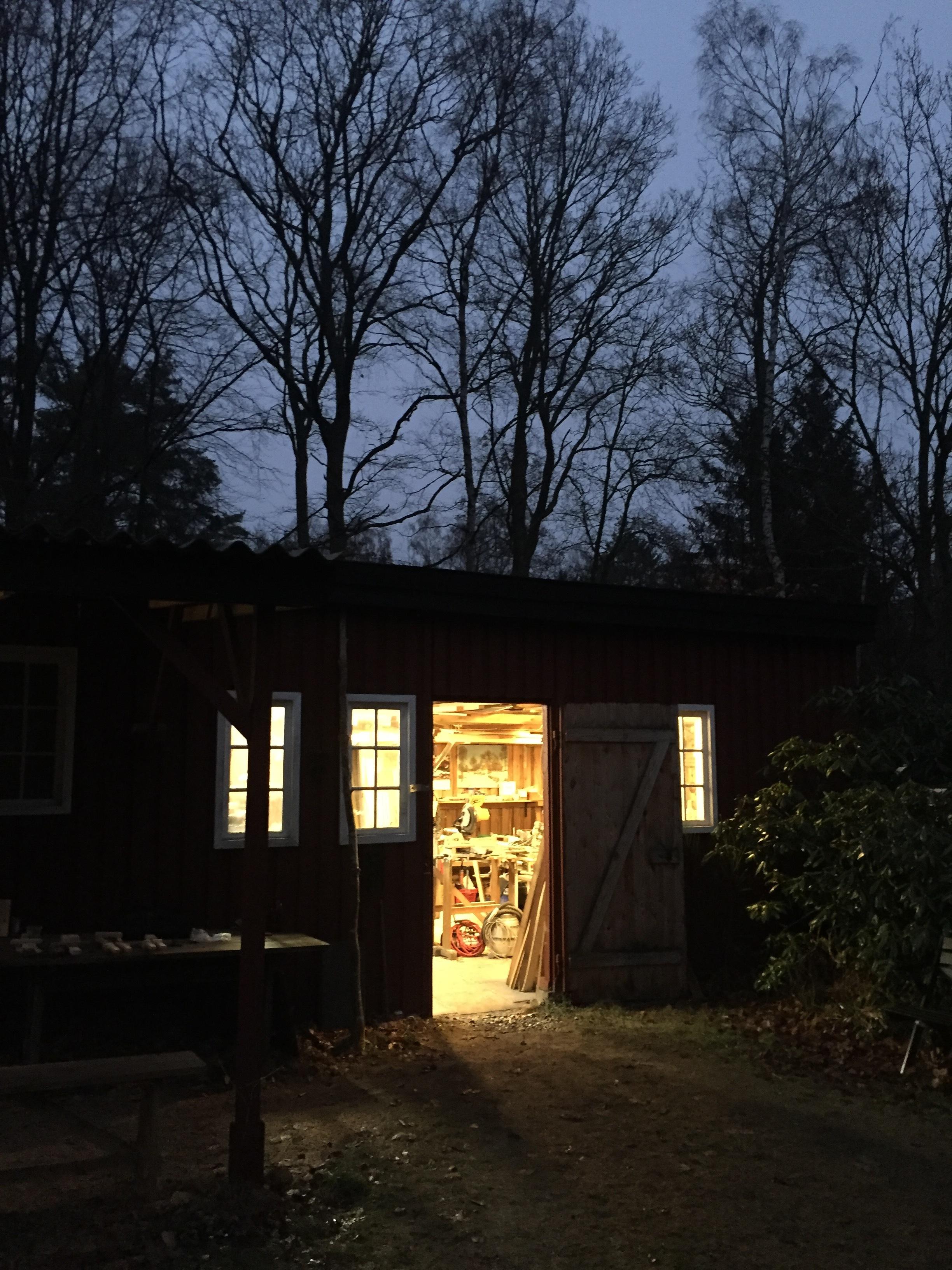 barn/wood workshop at night