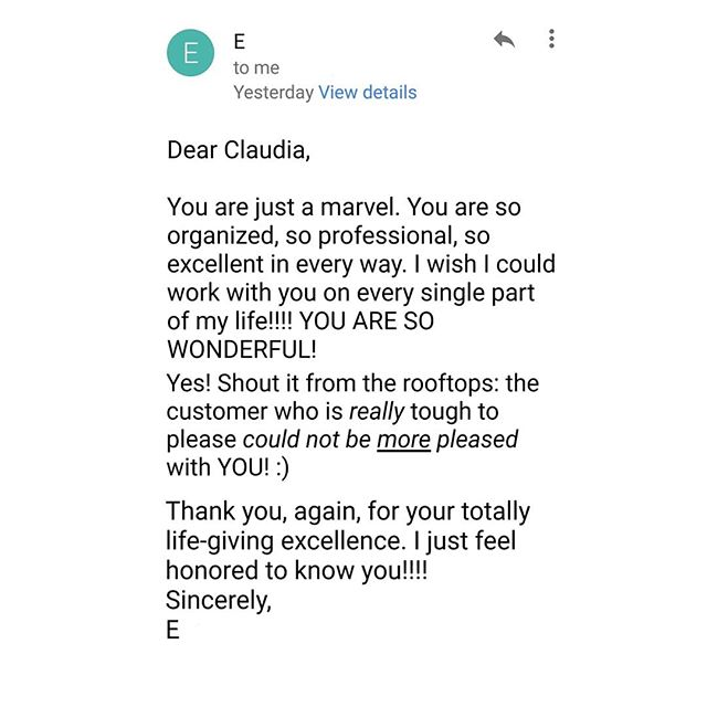 Love getting emails like this 🤩😍#MondayMotivation #anotherhappyclient #customertestimonial . . . #ClaudiaMBConsulting #EntertainmentandLifestyleConsultant #ContainedHomeOrganizer #SpaceDesigner #smallspaces #currentdesignsituation