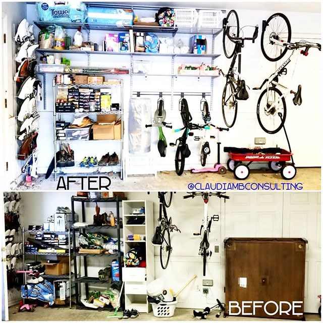 #Garages need love too! It's amazing how much you can fit when you utilize ALL of the vertical space using the #ELFAShelving system from @thecontainerstore !  Now my clients can fit BOTH cars in this space  along with  bulk items and  kids sporting equipment #anotherhappyclient . . . #ClaudiaMBConsulting #EntertainmentandLifestyleConsultant #ContainedHomeOrganizer #SpaceDesigner #ELFAUtility #garagegoals #shelving #getorganized #storage #TheContainerStore #TBT