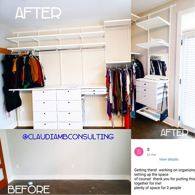 "#workinprogress 😍 This lovely client was determined to get her recently purchased condo #NewYear ready! Her biggest concern, ""How do I get enough #closet space for two people in my #studio?"" Our suggestion? Forget the closet! Let's use #ELFADecor #Shelving on your open wall space instead! Now this #fashionista can see all of her beautiful #clothing at once as a focal point of her #condo. Every day when she walks in, she'll feel like she's living in a #boutique and all of her less-than-pretty #storage items like #cleaningsupplies and #luggage are housed in the one closed closet she has. We even created a mini landing area and #mudroom with a #mirror near the entrance for jackets, purses, a dog leash and a few pairs of shoes for when she's rushing out the door.  #anotherhappyclient #customertestimonial #currentdesignsituation . . . #ClaudiaMBConsulting #EntertainmentandLifestyleConsultant #ContainedHomeOrganizer #SpaceDesigner #ContainYourself #studioapartment #openconcept #smallspaces #tinyhousemovement #TheContainerStore #MasterCloset #CondoLiving"