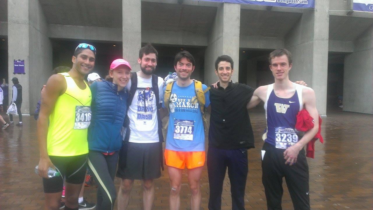All smiles post-race! Left to right: Jeevan Phillip, Brianna Troksa, Sam Entwisle, Tim Durham, Jason Klein, Ian Christian