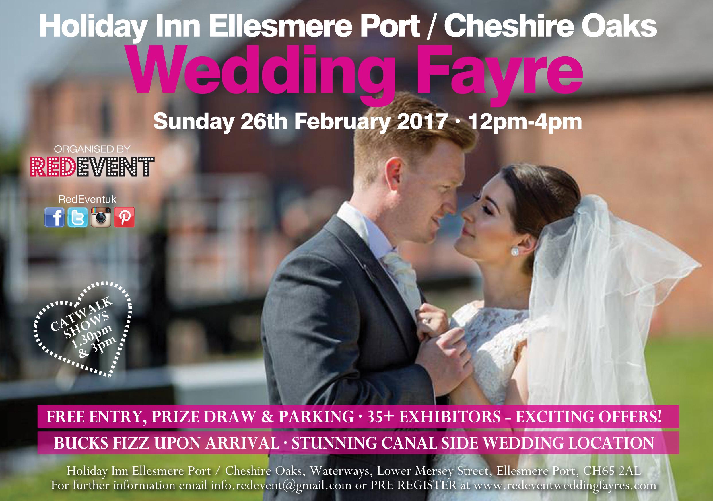 Holiday Inn Ellesmere Port Cheshire Oaks Wedding Fayre Flyer Red Event www.redeventweddingfayres.com