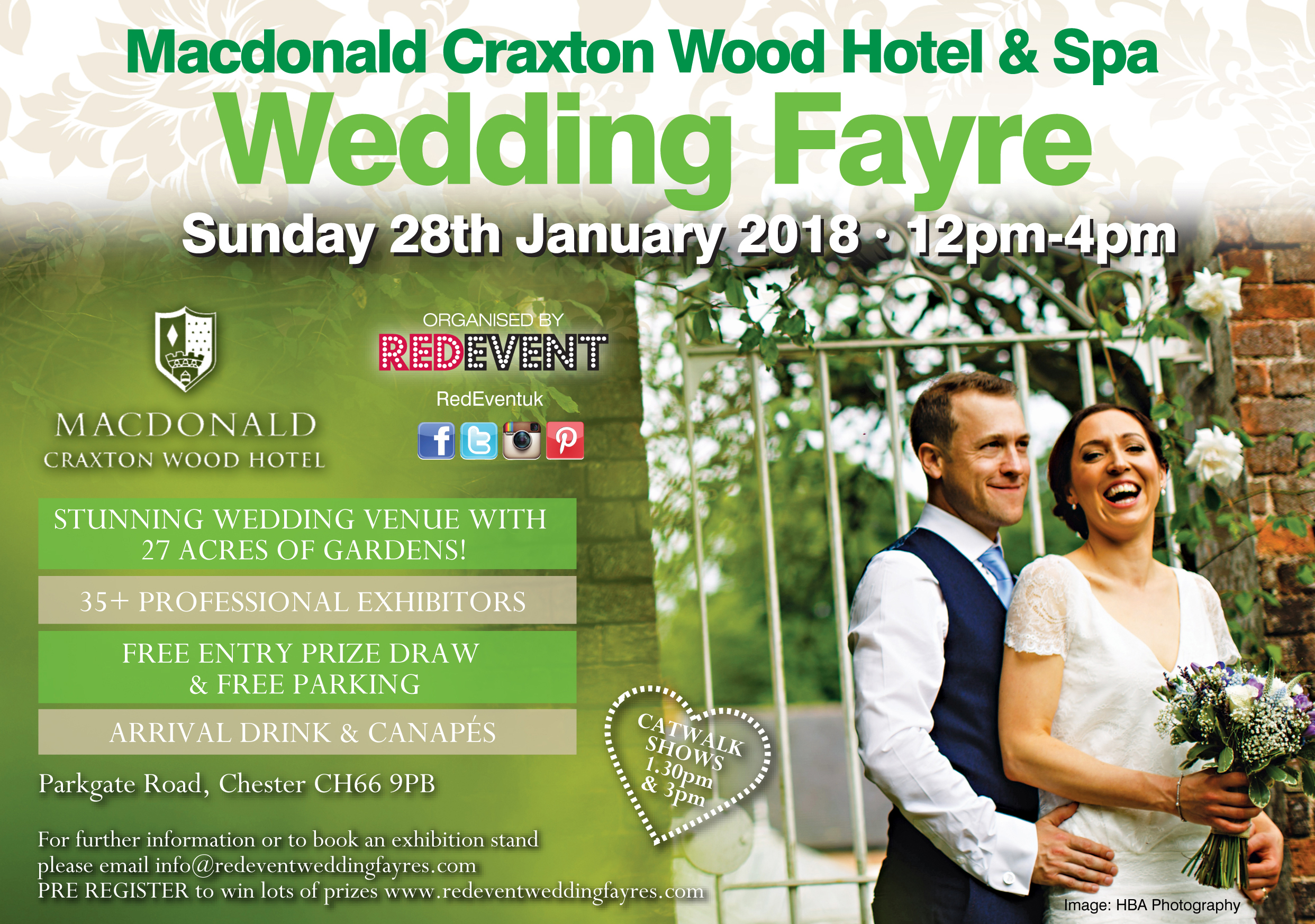 Macdonald Craxton Wood Wedding Fayre flyer www.redeventweddingfayres.com