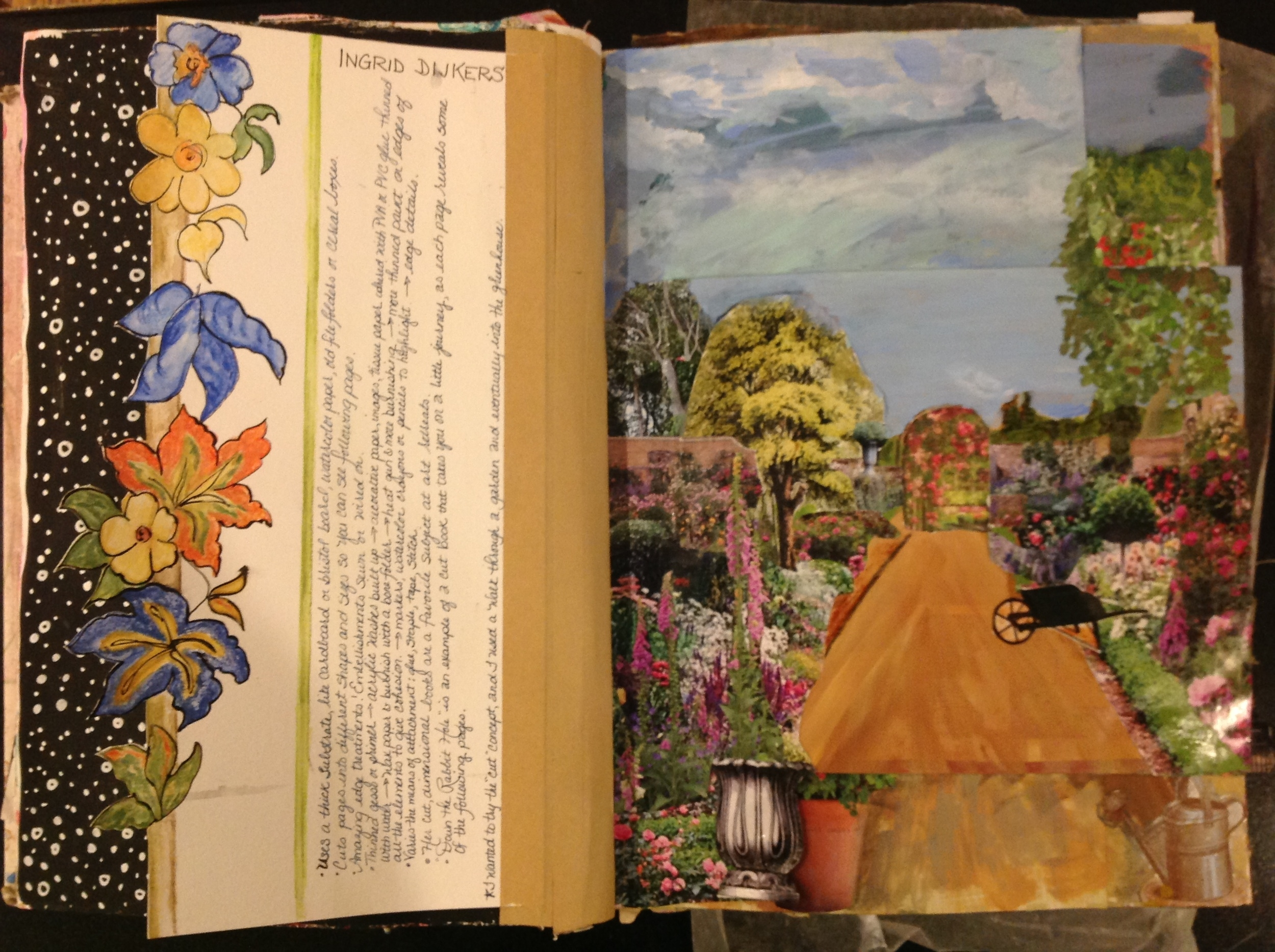 From my Copy the Masters journal  What I learned from studying the work of Ingrid Dijkers.  Inspired by her cut away journals, I wanted to try collaging walking down a garden path and into the greenhouse.  First page....