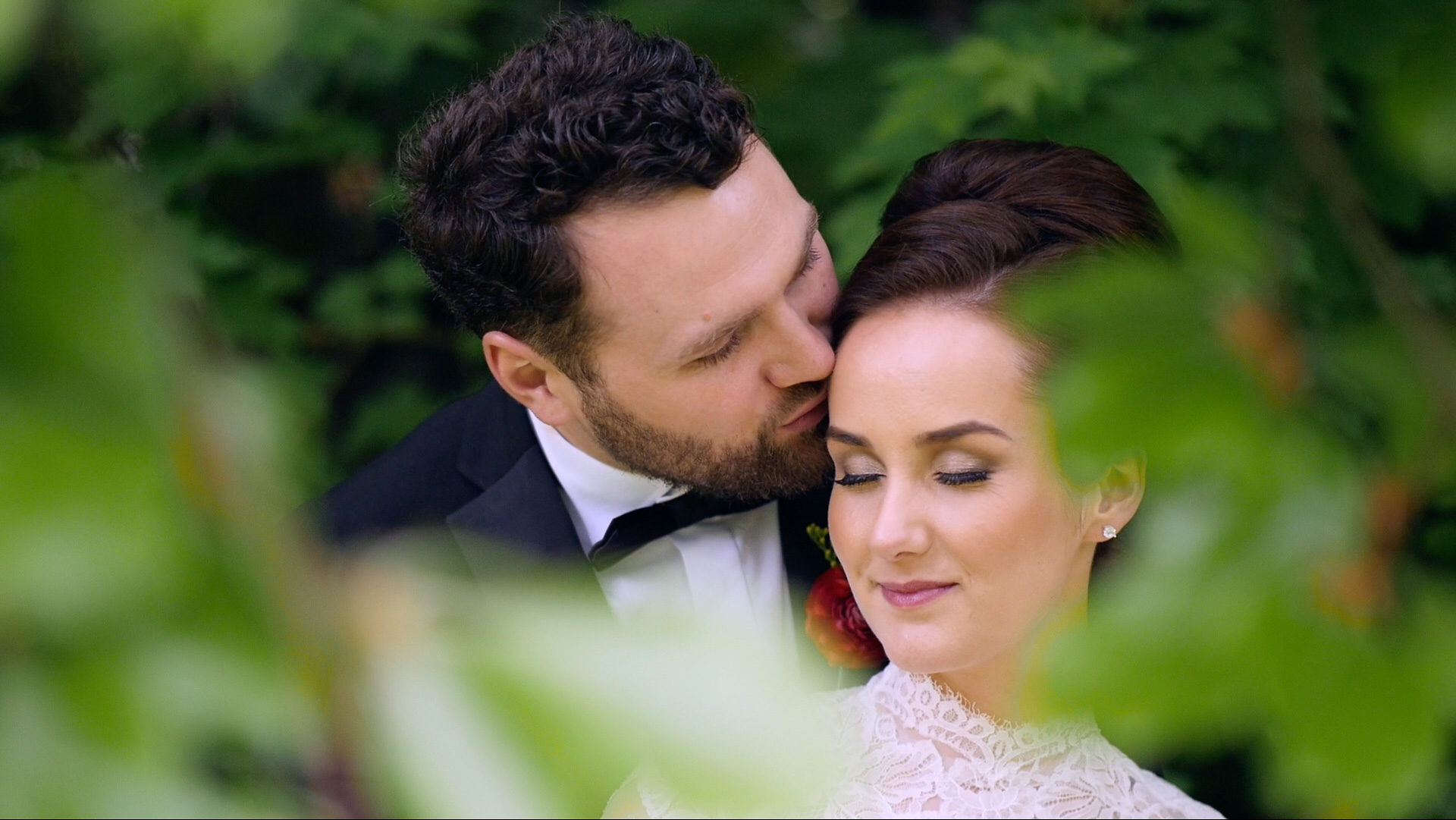 Jennifer and Luke on their wedding day at Ashfield House - picture from their wedding highlight video.