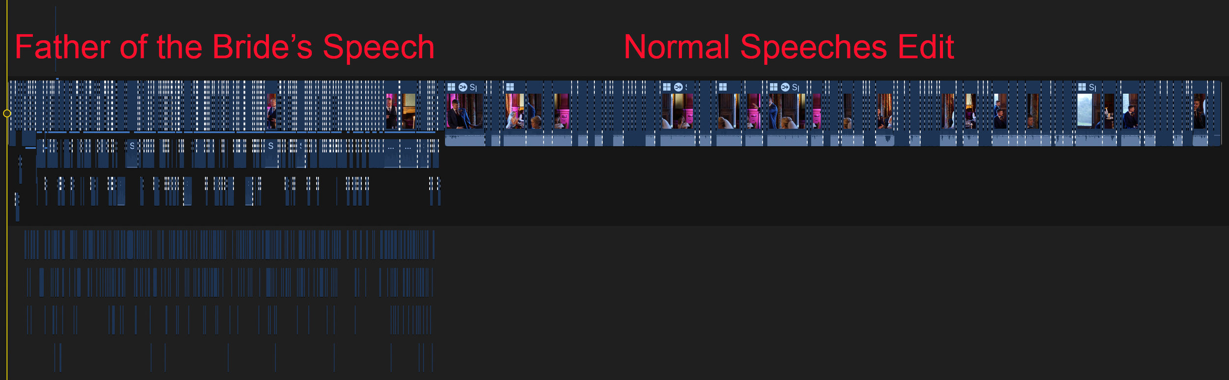 A timeline in Apple's Video Editing Software, Final Cut Pro X, showing the fix made to the Father of the Bride's Speech, after the Father of the Bride removed his coat jacket, which contained his audio recorders.