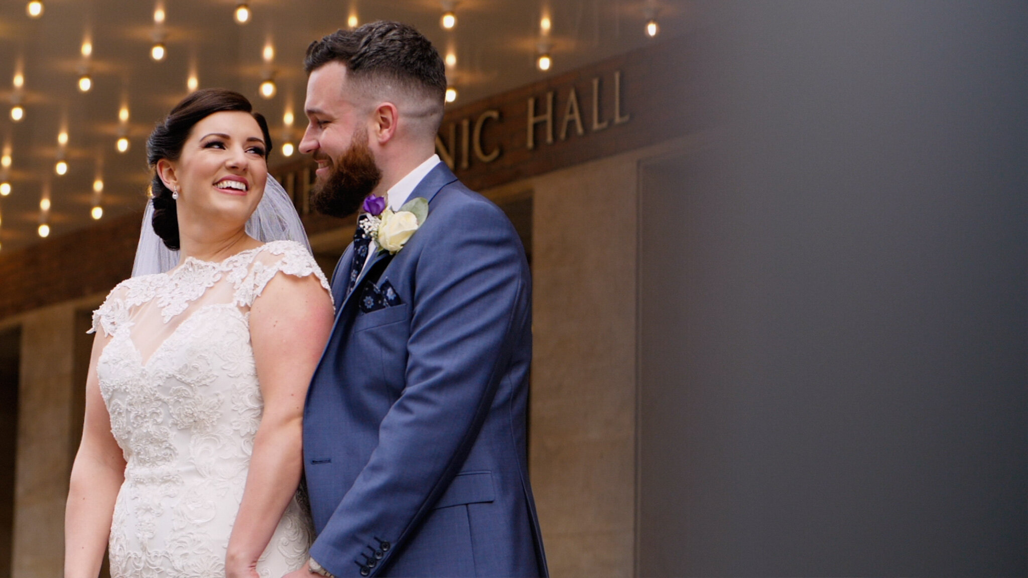 North West Wedding Videographer captures the bride and groom outside Philharmonic Hall, Liverpool.