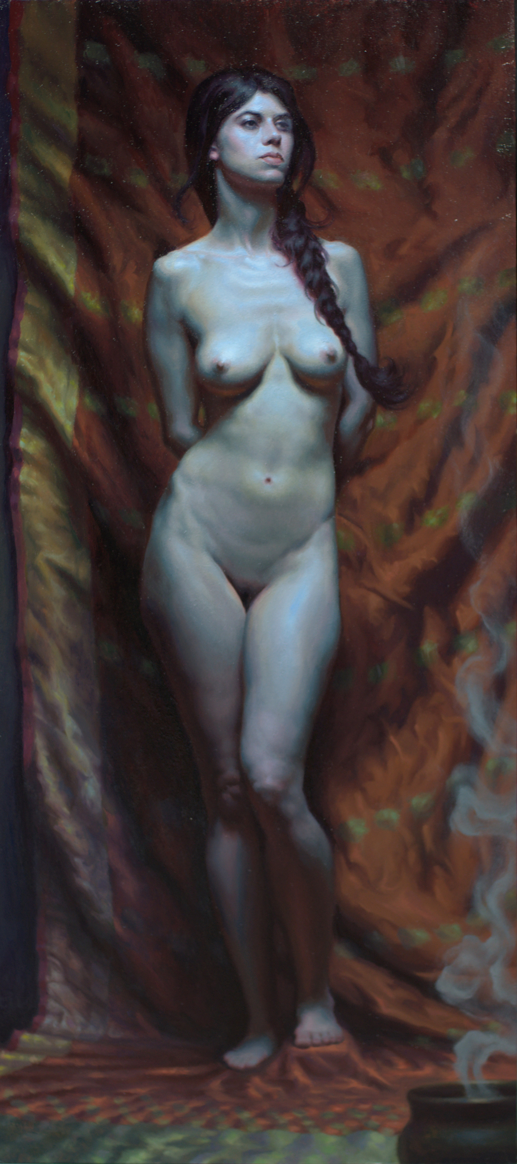 """Shadia"" 16x36″ Oil on hardwood"