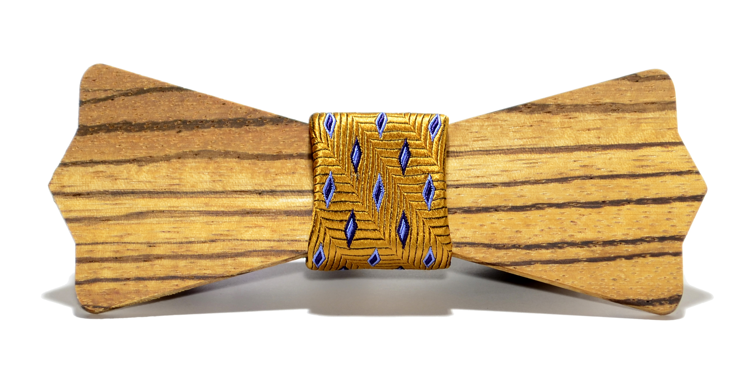The Wall Street Zebrawood Diamond Point Wooden Bow Tie