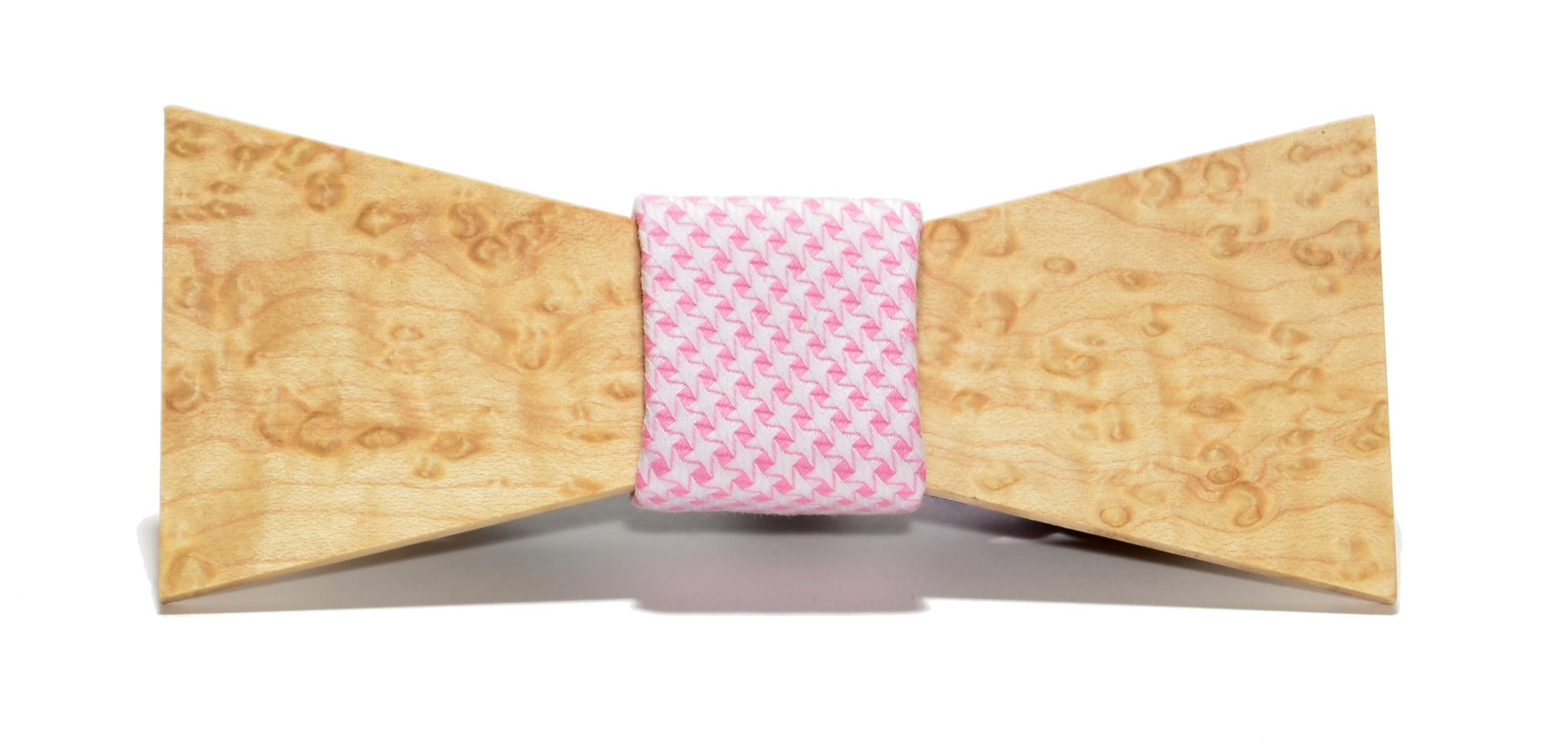 The Belmont Birdseye Maple Shorty Cotton Wooden Bow Tie