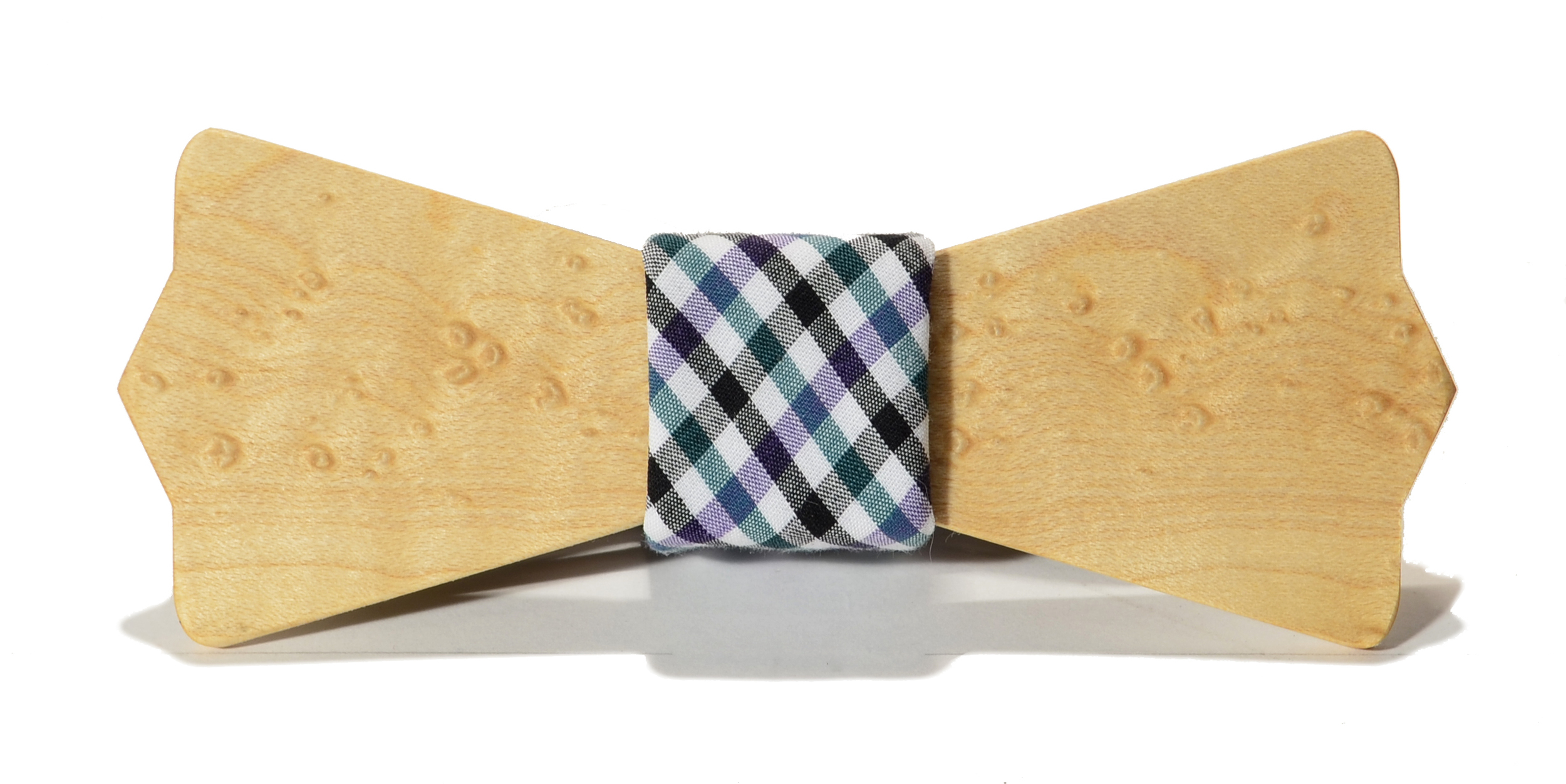 The Felling Birdseye Maple Diamond Point Cotton Wooden Bow Tie