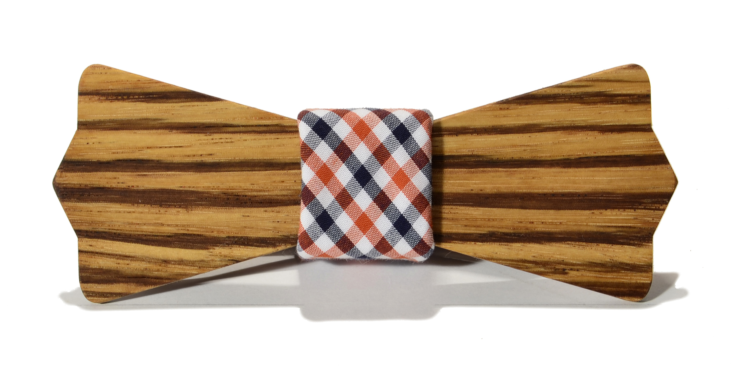 The Clark Zebrawood Diamond Point Cotton Wooden Bow Tie