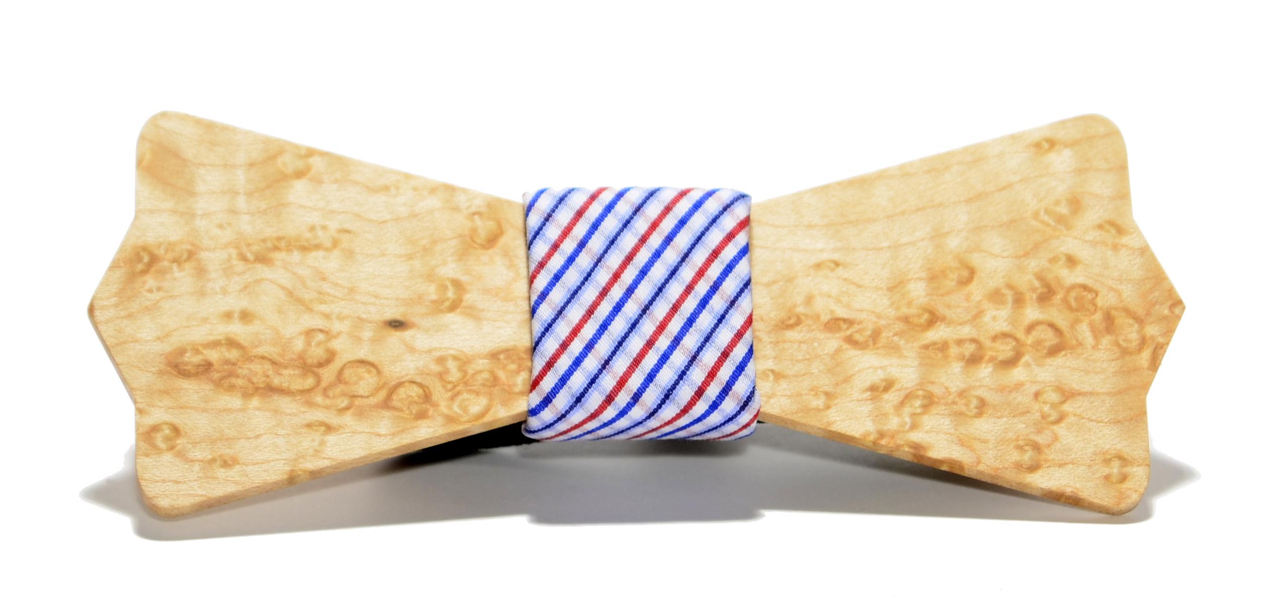 The Captain Birdseye Maple Diamond Point Cotton Wooden Bow Tie